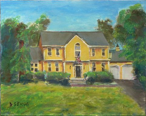 Custom Made House Portrait - Yellow Colonial