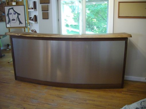 Custom Made Walnut And Stainless Steel Bar