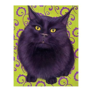 Custom Made Original Oil Black Cat Painting With Green And Purple Scrolls 20 X 16 Framed - Black Cat Art