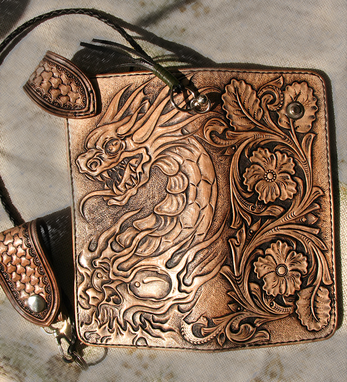 Custom Made Hand Tooled, Hand Carved Dragon Skull Biker Sheridan Belt Loop Braided Lace Long Wallet.