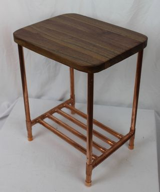 Custom Made Walnut & Copper Pipe Side Table With Shelf