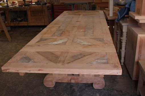 Custom Made Custom Trestle Dining Table - Can Add Leaf Extensions Built In Reclaimed Wood