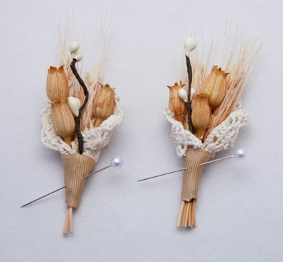 Custom Made Wedding Boutonniere, Winter Wheat And Vintage Lace