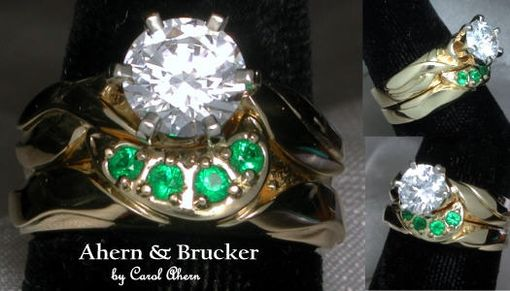 Custom Made Diamond & Emerald Hand Made Wedding Set In 18k