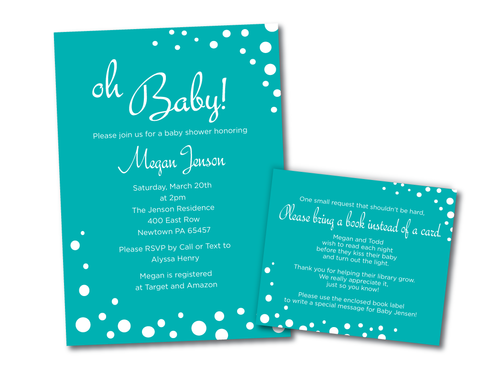 Custom Made Bubbly Baby Shower Invitation And Book Request Card - Blue Aqua Dots