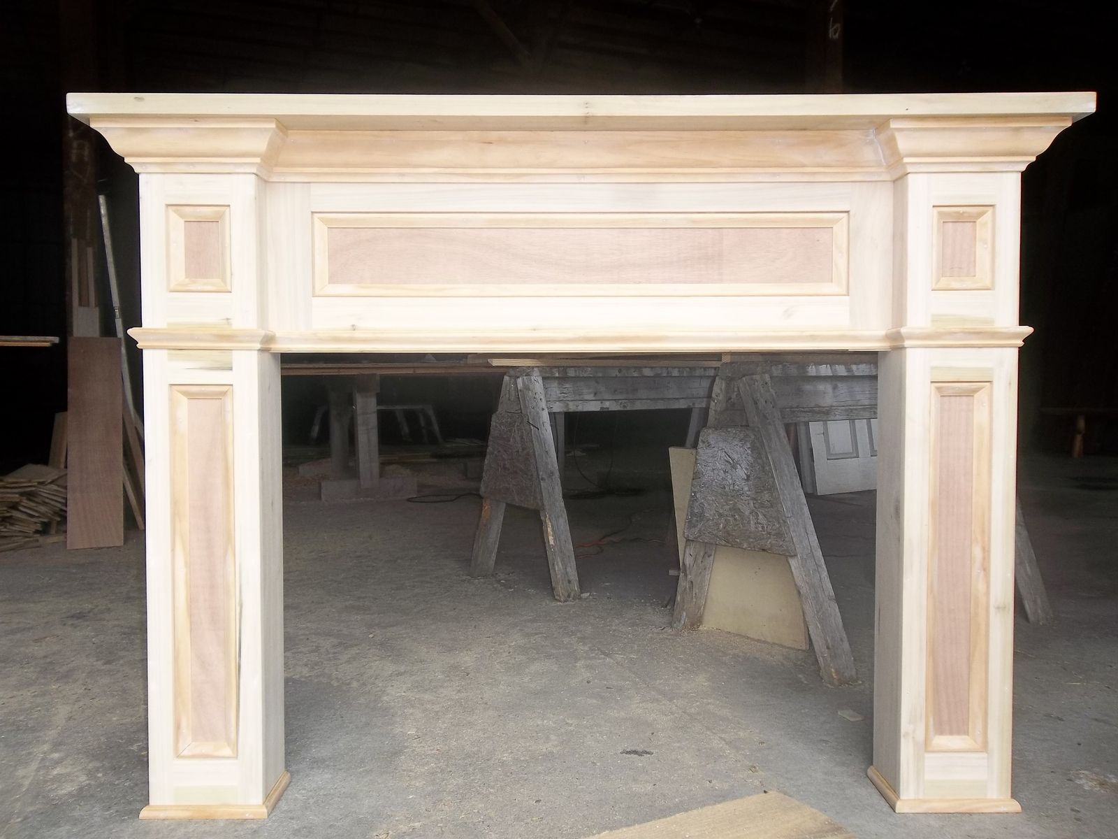 Custom made Mantel.  Paint grade lumber.  This goes around a fireplace or insert.  This is a good place to hang stockings.  I like craftsman style!…