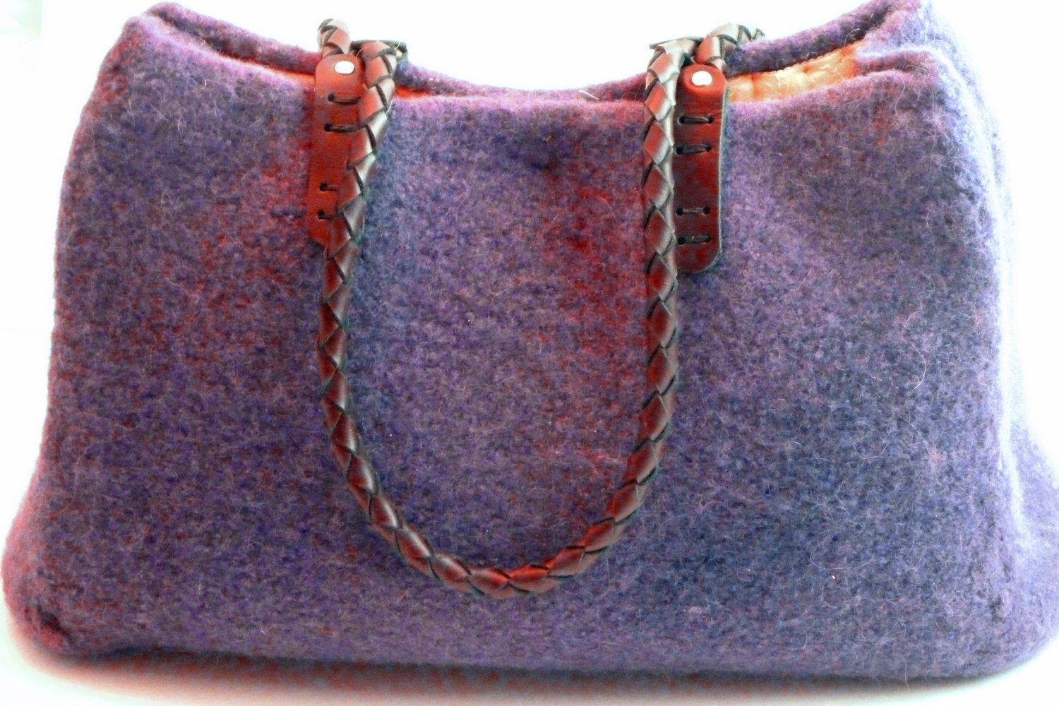 Custom Made Perfectly Plum Felted Wool Bag With Braided Leather Handles