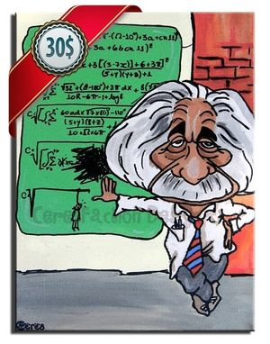 Custom Made Albert Einstein - Original Caricature Painting On Canvas 30x20cm