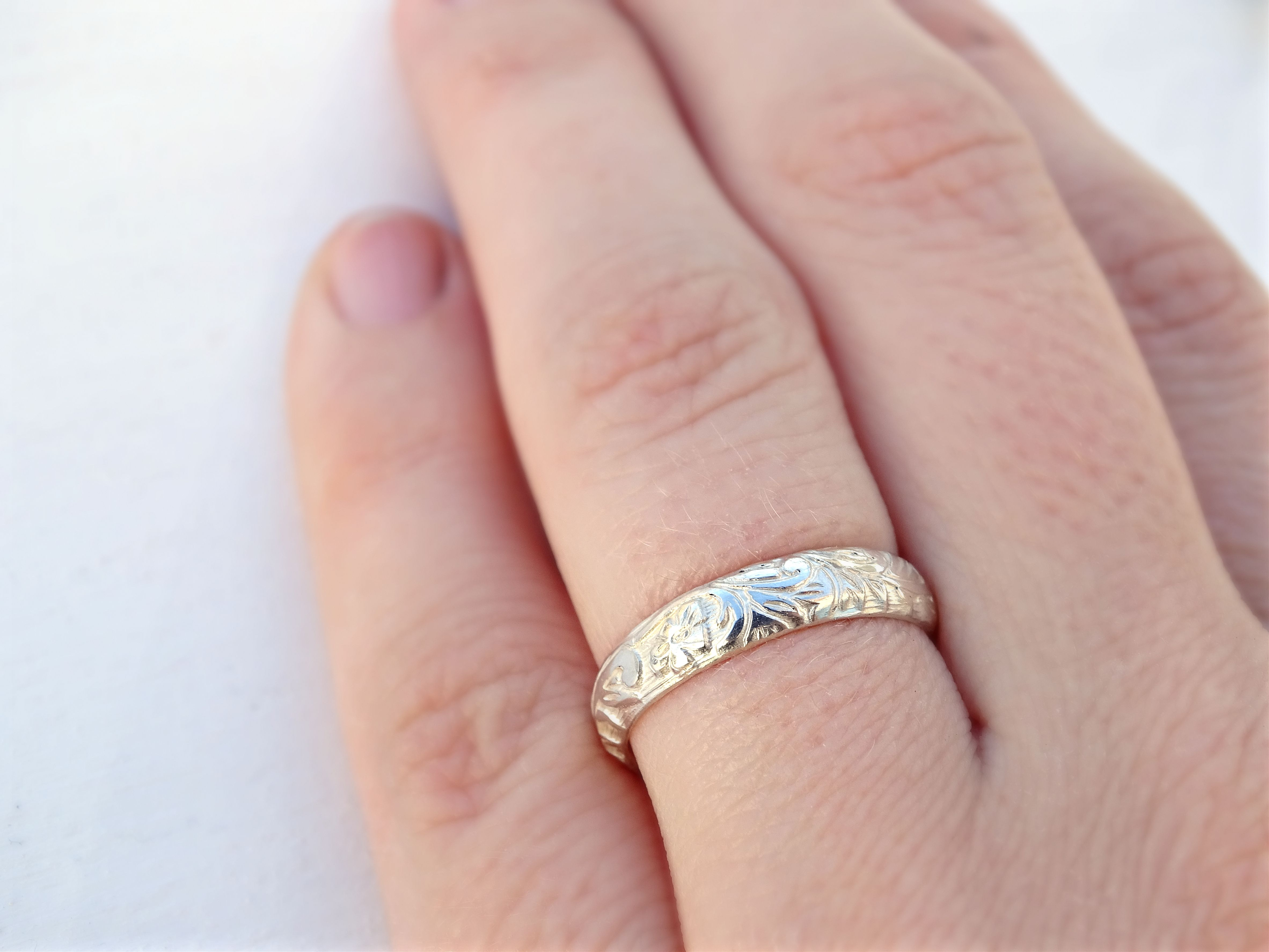 Buy a Hand Crafted Silver Flower Ring, Leaves Eternity Ring ...