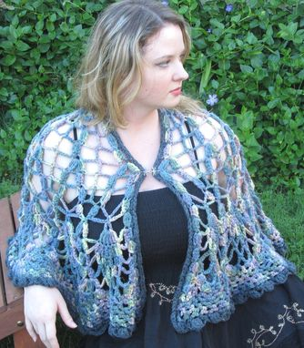 Custom Made Cape, Shawl, Crochet Lace, Dark Rainbow, Washable