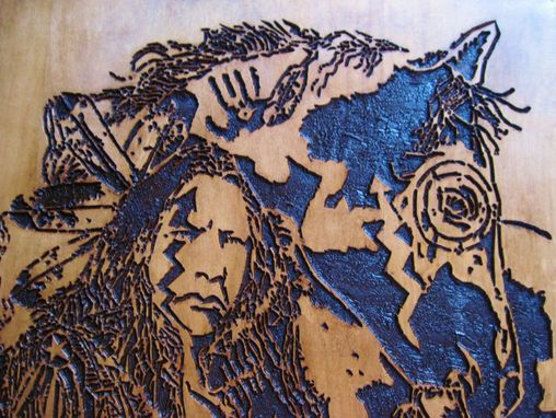 Custom Made Native American Indian Handmade Wood Carving Wall Art - A Young Warrior And His Horse