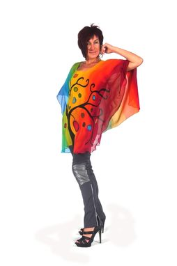 Custom Made Hand Painted Silk Crepe Georgette Poncho, Tree Of Life