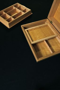 Custom Made Jewelry Box In Red Oak, African Satinwood, & Ebony