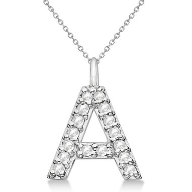 Custom Made Customized Block-Letter Pave Diamond Initial Pendant In 14k Gold