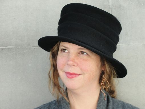 Custom Made Edwardian 1900'S Ladies Hat-Top Hat- Mad Hatter-Ladies' Cloth Hat-Black Wool Crepe