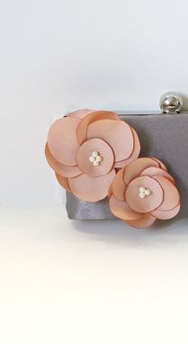 Custom Made Blush Dutch Satin Clutch Purse With Handmade Flowers And Pearls
