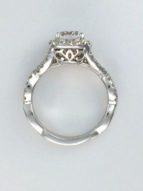 Custom Made Cushion Halo Diamond Engagement Ring In 14k White Gold Setting