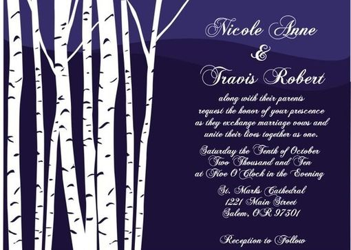 Custom Made 100 Custom Birch Tree Wedding Invitation Sets