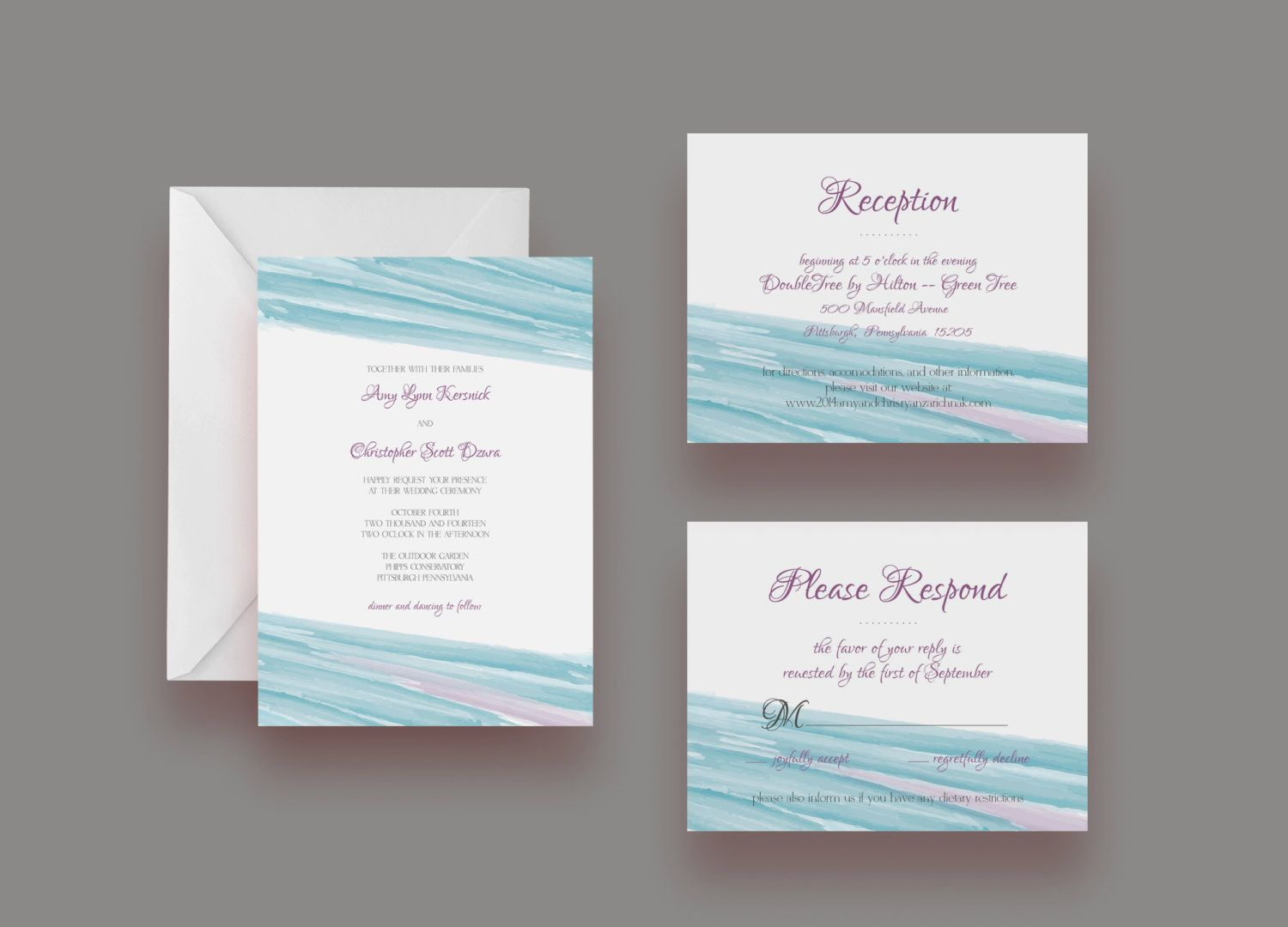 Custom Watercolor Wedding Invitation Suite -- Invite, Response Card ...