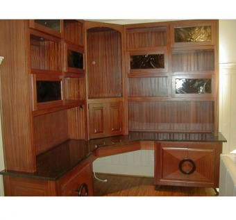 Custom Made Home Office In Sapele Mahogany With Black Galaxy Granite Work Surface
