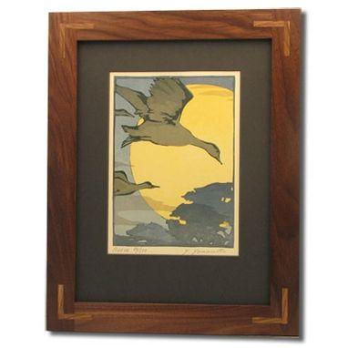Custom Black Walnut Mission Frame With Oak Corner Inlays