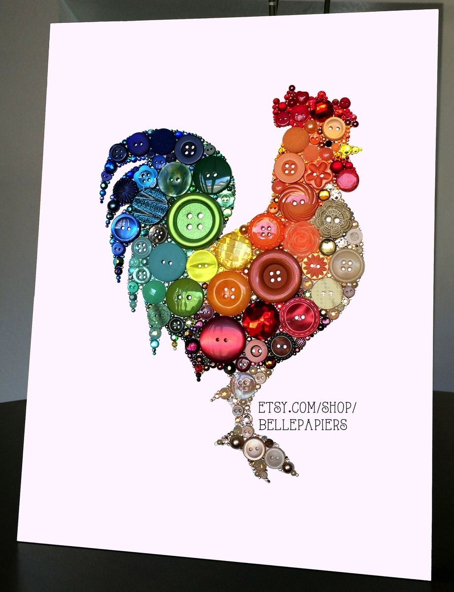 Hand Crafted 8x10 Kitchen Rooster Kitchen Art Buttons And
