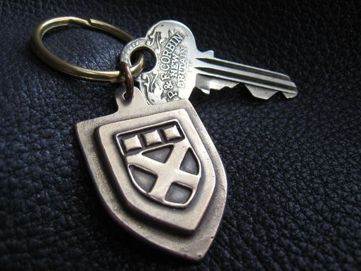 "Custom Made Solid Bronze Monogrammed Keychain Fob With Solid Brass Key Ring Approx 1 1/18"" (2.4 Cm.) In Diameter"