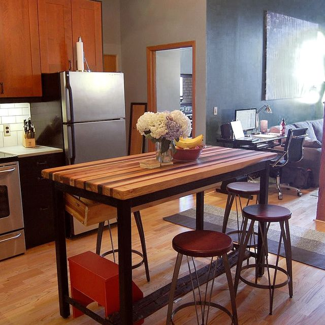 Buy a hand crafted butcher block kitchen island with industrial base buy a hand crafted butcher block kitchen island with industrial base and wine rack made to order from the strong oaks woodshop custommade watchthetrailerfo