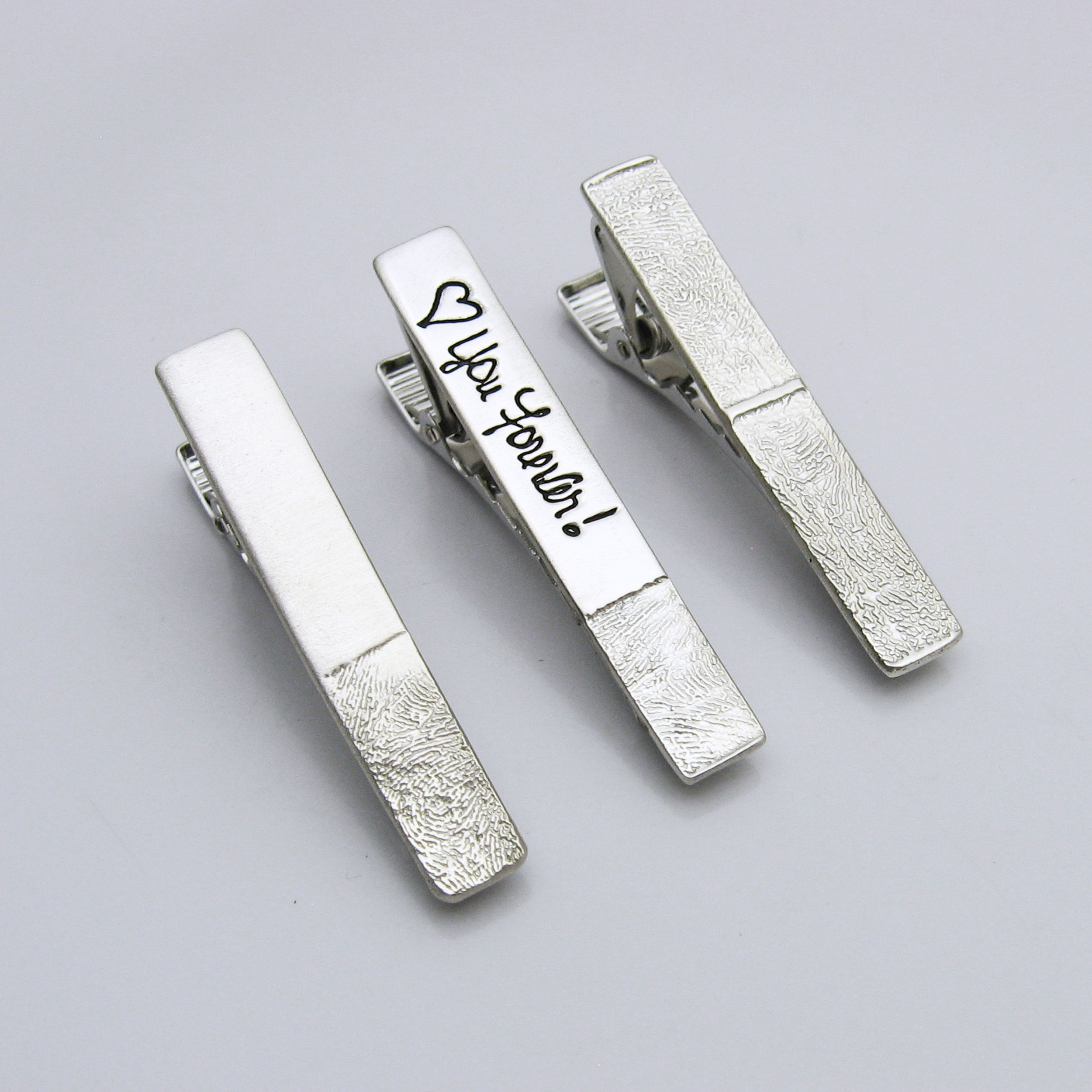 MONOGRAMMED SILVER OVAL ORNAMENTAL TIE CLIP INITIALS CUSTOM ENGRAVED CLASP BAR