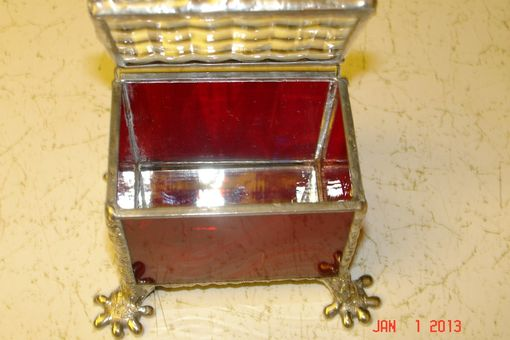 Custom Made Fire Red Footed Stained Glass Trinket Box
