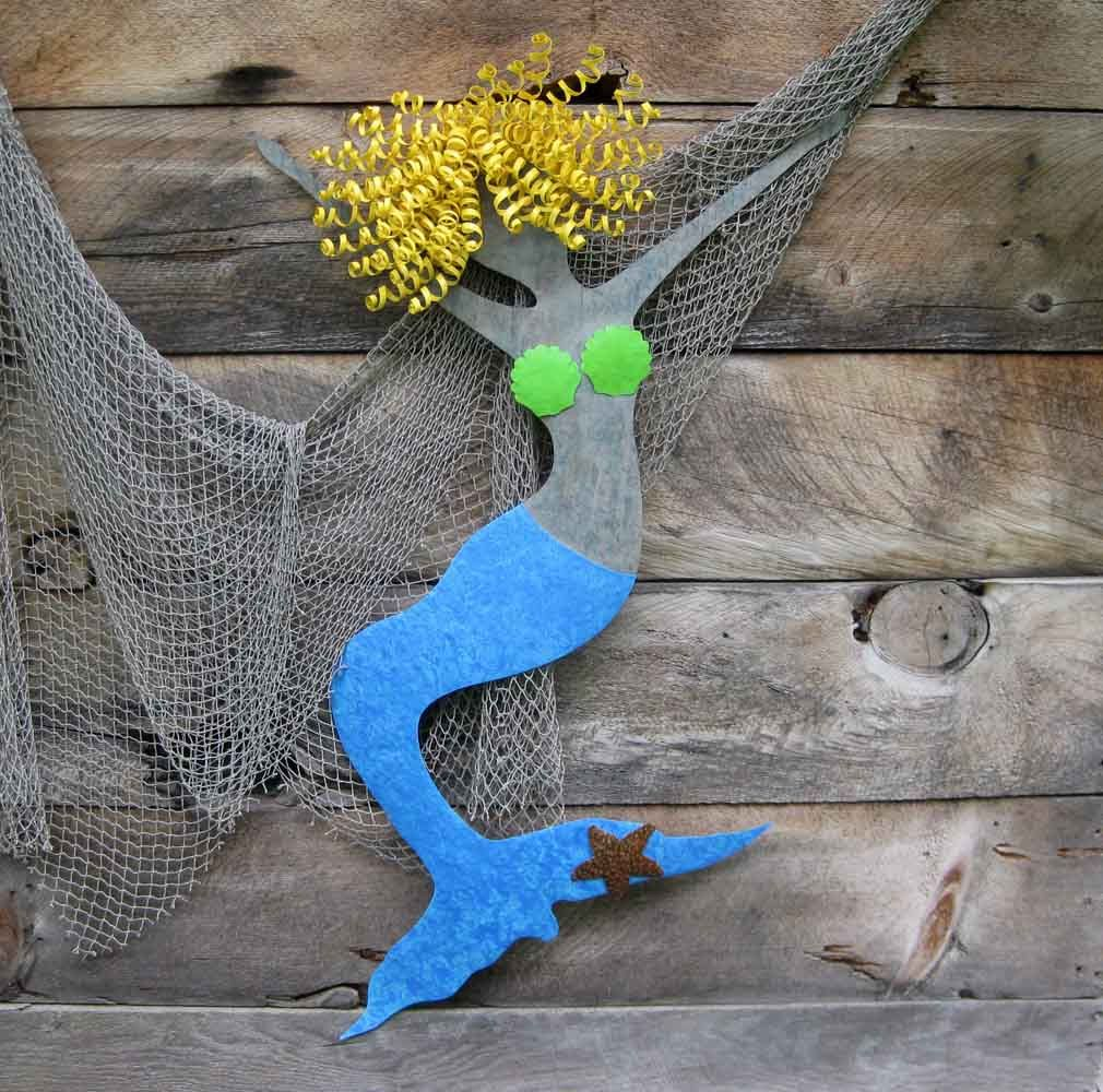 Custom Made Mermaid Wall Metal Art Recycled Ocean Decor Hanging Beach House Sculpture
