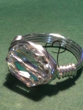 Custom Made Swarovski Crystal Artistic Silver Wire-Wrapped Custom Ring