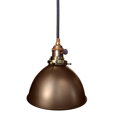 "Custom Made Factory 7"" Metal Shade Pendant Light- Bronze"