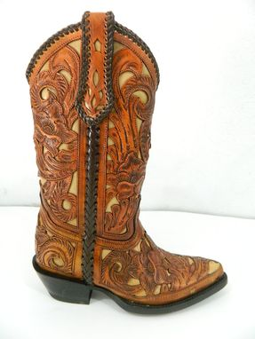 Custom Made Ladies Chedron And Tan Inlay Hand Tooled Cowgirl Boot Size 7 Us