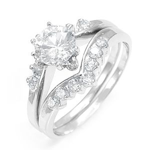 Custom Made Round Diamond Ring And Matching Band In 14k White Gold, Diamond Wedding Set/Rings