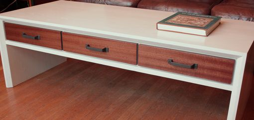 Custom Made Bleached Ash Coffee Table With Sapele Drawer Fronts