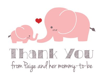 Custom Made Personalized Pink Elephant Baby Shower Thank-You Cards
