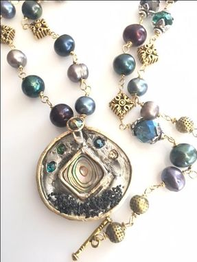Custom Made Wire Wrapped Beaded Pearl And Abalone Pendant Necklace