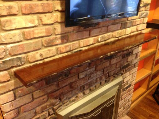 Custom Made Live Edge Slab Fireplace Mantel