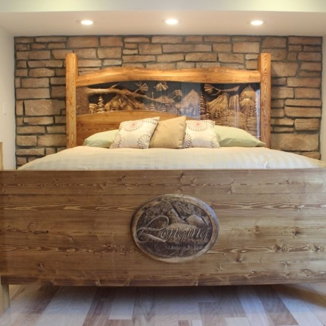 Hand Made King Size Headboard Footboard Waterfall Pine Forest Scene Carved By Scott Lazy River Studio Custommade