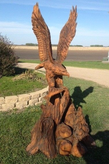 Hand crafted natural eagle carving by i saw it in