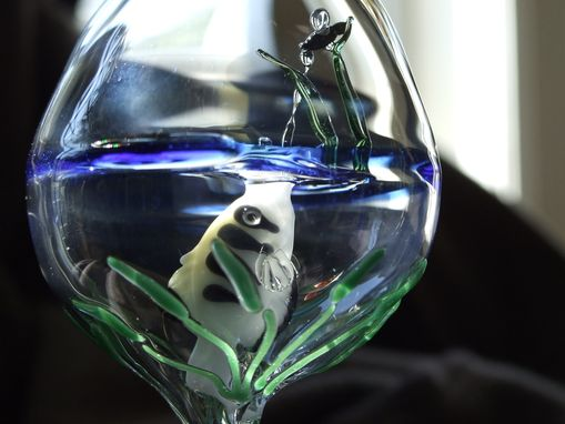 Custom Made Archerfish In Glass Sphere, Handblown Glass