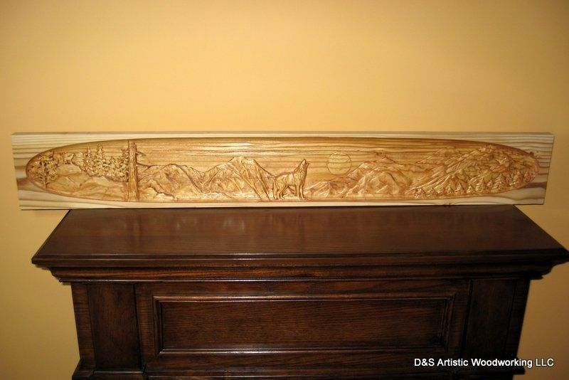 Hand Made Carved Fireplace Mantel Insert With Wolf By D Amp S