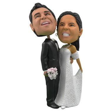Custom Made Personalized Wedding Cake Topper Of A Bride That Lifts The Dress, A Cake Topper That Looks Like The Bride And Groom