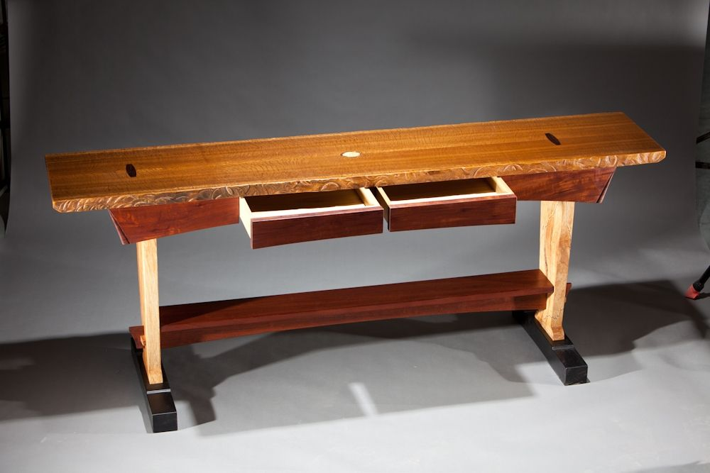 Custom Made Sofa Table With Two Drawers