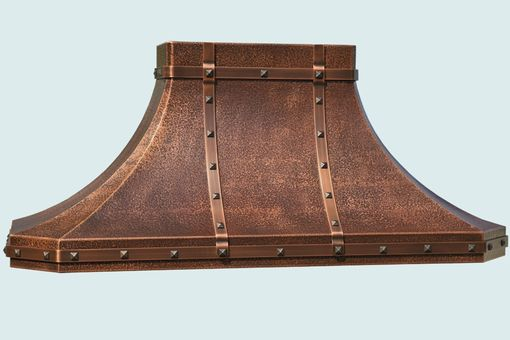 Custom Made Copper Range Hood With Hammering & Straps