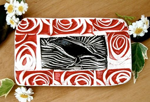 Custom Made Raven Dish - Rustic Tribal Red & Black Bird Crow Linocut Stamped Small Pottery Tray