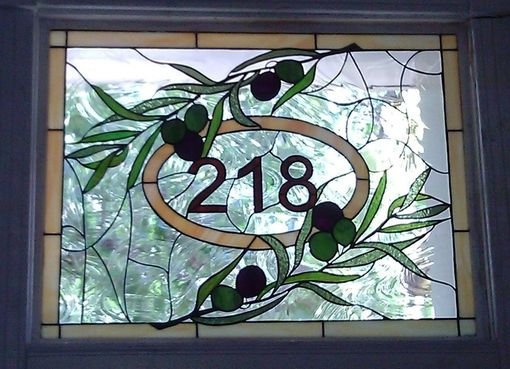 Custom Made Stained Glass Window / Transom - Olive Branch With House Numbers (Am-3)