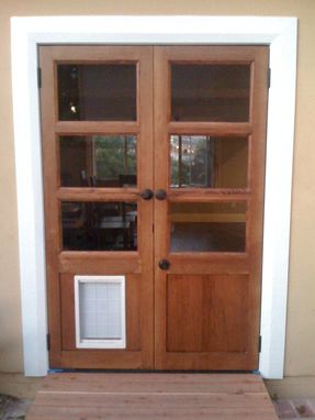 Handmade custom french doors with dog door by glerup - Interior door with pet door installed ...