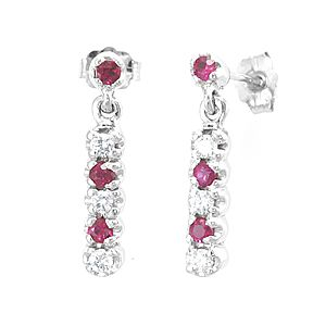 Custom Made Diamond Ruby Drop Down Earrings, 14k White Gold Dangling Earrings, Ruby Earrings